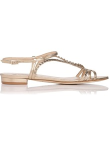 Lexi Crystal Detail Metallic Leather Flat Sandal Gold Soft Gold - predominant colour: gold; occasions: casual, evening, holiday; material: leather; heel height: flat; embellishment: crystals; ankle detail: ankle strap; heel: standard; toe: open toe/peeptoe; style: strappy; trends: metallics; finish: metallic; pattern: plain
