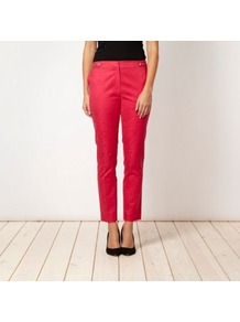 Designer Pink Snake Jacquard Trousers - waist: mid/regular rise; predominant colour: hot pink; occasions: casual, evening, holiday; length: ankle length; fibres: cotton - stretch; texture group: denim; fit: straight leg; pattern type: fabric; pattern size: big &amp; busy; pattern: animal print; style: standard