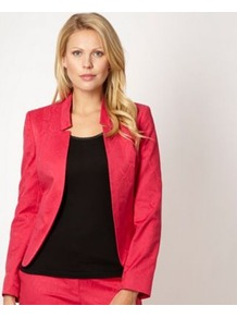 Designer Pink Snake Jacquard Jacket - style: single breasted blazer; collar: standard lapel/rever collar; predominant colour: hot pink; occasions: evening; length: standard; fit: tailored/fitted; fibres: cotton - stretch; sleeve length: long sleeve; sleeve style: standard; texture group: ornate wovens; collar break: low/open; pattern type: fabric; pattern size: standard; pattern: animal print