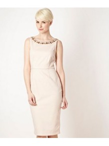 Pale Pink Embellished Neck Shift Dress - style: shift; neckline: round neck; fit: tailored/fitted; pattern: plain; sleeve style: sleeveless; bust detail: added detail/embellishment at bust; waist detail: fitted waist; back detail: low cut/open back; shoulder detail: contrast pattern/fabric at shoulder; predominant colour: nude; secondary colour: bronze; occasions: evening, occasion; length: on the knee; fibres: polyester/polyamide - mix; hip detail: sculpting darts/pleats/seams at hip; sleeve length: sleeveless; texture group: structured shiny - satin/tafetta/silk etc.; trends: glamorous day shifts; pattern type: fabric; embellishment: jewels