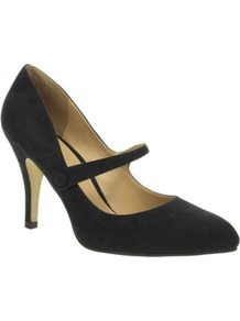 Black Mary Jane Pointy Court Shoes - predominant colour: black; occasions: evening, work; material: suede; heel height: high; heel: stiletto; toe: pointed toe; style: mary janes; finish: plain; pattern: plain