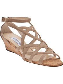 Dawn Sandal - predominant colour: stone; occasions: casual, occasion, holiday; material: suede; heel height: high; ankle detail: ankle strap; heel: wedge; toe: open toe/peeptoe; style: strappy; finish: plain; pattern: plain