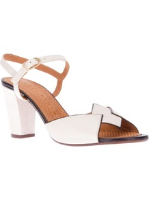 'Valencia' Sandal - predominant colour: white; occasions: casual, occasion, holiday; material: leather; heel height: mid; ankle detail: ankle strap; heel: block; toe: open toe/peeptoe; style: standard; finish: plain; pattern: plain