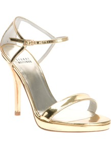 Ankle Strap Sandal - predominant colour: gold; occasions: evening, occasion; material: leather; heel height: high; ankle detail: ankle strap; heel: platform; toe: open toe/peeptoe; style: standard; trends: metallics; finish: metallic; pattern: plain