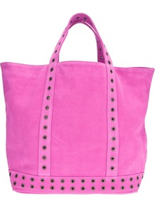 Large Eyelet Tote - predominant colour: magenta; occasions: casual; style: tote; length: handle; size: standard; material: suede; embellishment: studs; pattern: plain; finish: plain