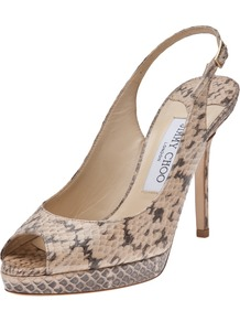 Nova Heel - predominant colour: nude; occasions: evening, work, occasion; material: leather; heel height: high; embellishment: buckles; heel: platform; toe: open toe/peeptoe; style: slingbacks; finish: plain; pattern: animal print