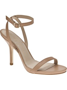 Open Toe Sandal - predominant colour: nude; occasions: evening, work, occasion; material: leather; heel height: high; embellishment: buckles; ankle detail: ankle strap; heel: stiletto; toe: open toe/peeptoe; style: standard; finish: plain; pattern: plain