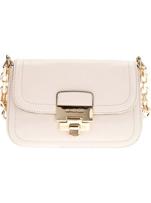 Shoulder Bag - predominant colour: ivory; occasions: casual, evening, occasion; style: shoulder; length: across body/long; size: small; material: leather; pattern: plain; finish: patent; embellishment: chain/metal