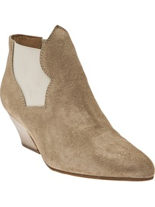 Alma Bootie - predominant colour: stone; occasions: casual; material: suede; heel height: mid; embellishment: elasticated; heel: cone; toe: pointed toe; boot length: ankle boot; style: standard; finish: plain; pattern: plain