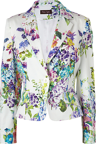 Tilly Printed Jacket, White - style: single breasted blazer; collar: standard lapel/rever collar; predominant colour: white; occasions: casual, occasion; length: standard; fit: tailored/fitted; fibres: cotton - mix; sleeve length: long sleeve; sleeve style: standard; trends: high impact florals; collar break: medium; pattern type: fabric; pattern size: big & busy; pattern: florals; texture group: jersey - stretchy/drapey