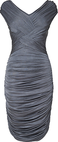 Ida Ruched Dress, Charcoal - neckline: low v-neck; fit: tight; pattern: plain; sleeve style: sleeveless; style: bodycon; waist detail: fitted waist; predominant colour: charcoal; occasions: evening, occasion; length: just above the knee; fibres: polyester/polyamide - stretch; sleeve length: sleeveless; texture group: jersey - stretchy/drapey