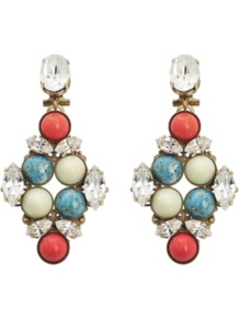 Multi Drop Earrings - occasions: evening, occasion, holiday; predominant colour: multicoloured; style: drop; length: mid; size: standard; material: chain/metal; fastening: pierced; finish: plain; embellishment: crystals