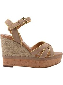 Suede Strappy Wedge - predominant colour: taupe; occasions: casual, evening, occasion, holiday; material: suede; heel height: high; ankle detail: ankle strap; heel: wedge; toe: open toe/peeptoe; style: strappy; finish: plain; pattern: two-tone