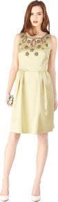 Topaz Dress - neckline: round neck; fit: fitted at waist; pattern: plain; sleeve style: sleeveless; bust detail: added detail/embellishment at bust; predominant colour: primrose yellow; occasions: evening, occasion; length: just above the knee; style: fit &amp; flare; fibres: polyester/polyamide - stretch; hip detail: structured pleats at hip; sleeve length: sleeveless; texture group: structured shiny - satin/tafetta/silk etc.; pattern type: fabric; embellishment: jewels