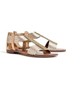Pewter Metallic Brushed Snake Gatsby Flat Sandal Sam Edel - predominant colour: gold; occasions: casual, holiday; material: leather; heel height: flat; embellishment: beading; ankle detail: ankle strap; heel: standard; toe: open toe/peeptoe; style: strappy; trends: metallics; finish: metallic; pattern: plain