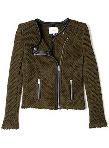 Khaki Miali Chrochet Jacket - pattern: plain; collar: round collar/collarless; style: boxy; predominant colour: khaki; occasions: casual, work; length: standard; fit: straight cut (boxy); fibres: cotton - 100%; sleeve length: long sleeve; sleeve style: standard; texture group: knits/crochet; collar break: high; pattern type: knitted - other