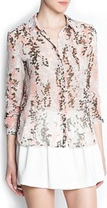 Chiffon Printed Shirt - neckline: shirt collar/peter pan/zip with opening; style: shirt; predominant colour: blush; occasions: work; length: standard; fibres: polyester/polyamide - 100%; fit: straight cut; sleeve length: long sleeve; sleeve style: standard; texture group: sheer fabrics/chiffon/organza etc.; pattern type: fabric; pattern size: big &amp; busy; pattern: patterned/print
