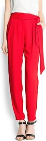 Bow Crep Trousers - pattern: plain; style: peg leg; waist: high rise; waist detail: belted waist/tie at waist/drawstring; predominant colour: true red; occasions: casual, evening, work; length: ankle length; fibres: polyester/polyamide - 100%; texture group: crepes; fit: tapered; pattern type: fabric