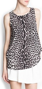Leopard Print Top - neckline: round neck; sleeve style: sleeveless; length: below the bottom; back detail: racer back/sports back; waist detail: twist front waist detail/nipped in at waist on one side/soft pleats/draping/ruching/gathering waist detail; secondary colour: camel; predominant colour: black; occasions: evening, work, holiday; style: top; fibres: polyester/polyamide - 100%; fit: body skimming; hip detail: soft pleats at hip/draping at hip/flared at hip; sleeve length: sleeveless; texture group: silky - light; trends: statement prints; pattern type: fabric; pattern size: small &amp; busy; pattern: animal print