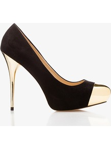 Mirrored Platform Pumps - predominant colour: black; occasions: evening, occasion; material: faux leather; heel height: high; heel: stiletto; toe: pointed toe; style: courts; finish: plain; pattern: plain