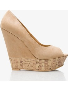 Printed Cork Peeptoe Wedges - predominant colour: camel; occasions: evening, holiday; material: faux leather; heel height: high; heel: wedge; toe: open toe/peeptoe; style: courts; finish: plain; pattern: plain