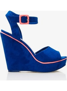 Faux Suede Wedge Sandals - predominant colour: royal blue; occasions: evening, holiday; material: faux leather; heel height: high; embellishment: buckles; ankle detail: ankle strap; heel: wedge; toe: open toe/peeptoe; style: strappy; finish: plain; pattern: plain