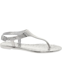 Silver Jelly Sandals - predominant colour: silver; occasions: casual, holiday; material: plastic/rubber; heel height: flat; ankle detail: ankle strap; heel: standard; toe: toe thongs; style: flip flops / toe post; trends: metallics; finish: metallic; pattern: animal print