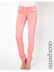Petite Elgin Supersoft Skinny Jeans In Washed Coral - style: skinny leg; length: standard; pattern: plain; waist: low rise; pocket detail: traditional 5 pocket; predominant colour: pink; occasions: casual, evening, holiday; fibres: cotton - stretch; texture group: denim; pattern type: fabric; pattern size: standard