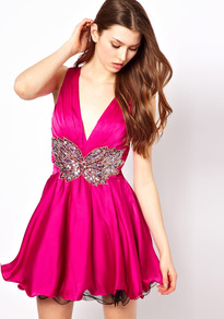 Prom Dress With Embellished Waist - length: mini; neckline: low v-neck; fit: fitted at waist; pattern: plain; sleeve style: sleeveless; style: prom dress; waist detail: embellishment at waist/feature waistband; predominant colour: hot pink; occasions: evening, occasion; fibres: polyester/polyamide - 100%; sleeve length: sleeveless; texture group: structured shiny - satin/tafetta/silk etc.; hip detail: ruffles/tiers/tie detail at hip; pattern type: fabric; pattern size: small &amp; light; embellishment: sequins