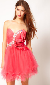 Bandeau Prom Dress - length: mini; neckline: strapless (straight/sweetheart); pattern: plain; style: prom dress; sleeve style: strapless; bust detail: added detail/embellishment at bust; waist detail: fitted waist; predominant colour: coral; occasions: evening, occasion; fit: fitted at waist &amp; bust; fibres: polyester/polyamide - 100%; sleeve length: sleeveless; texture group: sheer fabrics/chiffon/organza etc.; hip detail: ruffles/tiers/tie detail at hip; pattern type: fabric; pattern size: small &amp; light; embellishment: crystals