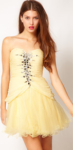 Jewelled Prom Dress - length: mini; neckline: strapless (straight/sweetheart); pattern: plain; style: prom dress; sleeve style: strapless; bust detail: added detail/embellishment at bust; waist detail: fitted waist; predominant colour: primrose yellow; occasions: evening, occasion; fit: fitted at waist & bust; fibres: polyester/polyamide - stretch; sleeve length: sleeveless; texture group: sheer fabrics/chiffon/organza etc.; pattern type: fabric; pattern size: small & light; embellishment: crystals