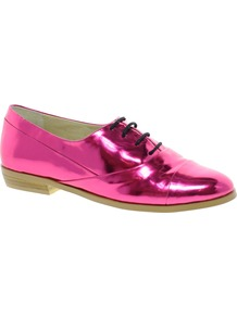Mascot Flat Shoes - predominant colour: hot pink; occasions: casual, evening, work; material: faux leather; heel height: flat; toe: round toe; style: brogues; trends: metallics; finish: metallic; pattern: plain