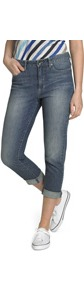 Crop Jeans - style: straight leg; pattern: plain; pocket detail: traditional 5 pocket; waist: mid/regular rise; predominant colour: denim; occasions: casual, holiday; length: calf length; fibres: cotton - stretch; jeans detail: shading down centre of thigh, washed/faded; jeans & bottoms detail: turn ups; texture group: denim; pattern type: fabric; pattern size: standard