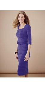 Belted Shutter Dress - style: shift; length: below the knee; fit: tight; pattern: plain; waist detail: belted waist/tie at waist/drawstring; predominant colour: purple; occasions: casual, evening, work; fibres: polyester/polyamide - stretch; sleeve length: 3/4 length; sleeve style: standard; trends: glamorous day shifts; neckline: low square neck; pattern type: fabric; pattern size: standard; texture group: jersey - stretchy/drapey