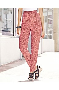 Print Trousers - length: standard; style: peg leg; waist: high rise; predominant colour: true red; occasions: casual, evening, work, holiday; fibres: polyester/polyamide - 100%; hip detail: front pleats at hip level; waist detail: narrow waistband; fit: tapered; pattern type: fabric; pattern size: small & busy; pattern: patterned/print; texture group: other - light to midweight