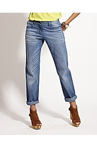 Tapered Boyfriend Jeans - style: boyfriend; pattern: plain; pocket detail: traditional 5 pocket; waist: mid/regular rise; predominant colour: denim; occasions: casual; length: ankle length; fibres: cotton - stretch; jeans detail: whiskering, washed/faded; texture group: denim; pattern type: fabric