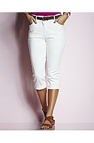 Magifit Cropped Jeans - pattern: plain; pocket detail: traditional 5 pocket; style: slim leg; waist: mid/regular rise; predominant colour: white; occasions: casual, holiday; length: calf length; fibres: cotton - stretch; jeans & bottoms detail: turn ups; texture group: denim; pattern type: fabric