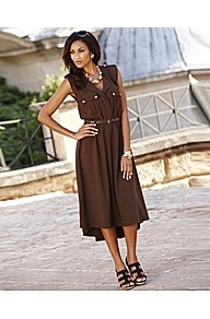 Joanna Hope Shaped Hem Belted Dress - length: calf length; neckline: v-neck; fit: fitted at waist; pattern: plain; sleeve style: sleeveless; style: blouson; bust detail: pocket detail at bust; waist detail: belted waist/tie at waist/drawstring; predominant colour: chocolate brown; occasions: casual, occasion, holiday; fibres: polyester/polyamide - 100%; hip detail: soft pleats at hip/draping at hip/flared at hip; shoulder detail: discreet epaulette; sleeve length: sleeveless; texture group: crepes; pattern type: fabric; pattern size: standard