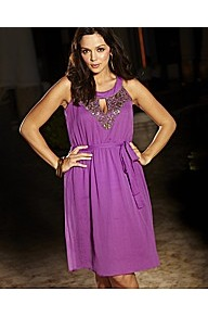 Sequin & Pearls Beaded Neckline Dress With Self - fit: loose; pattern: plain; sleeve style: sleeveless; style: sundress; bust detail: added detail/embellishment at bust; waist detail: belted waist/tie at waist/drawstring; predominant colour: purple; occasions: evening, occasion, holiday; length: just above the knee; neckline: peep hole neckline; fibres: polyester/polyamide - 100%; sleeve length: sleeveless; texture group: sheer fabrics/chiffon/organza etc.; pattern type: fabric; pattern size: standard; embellishment: beading