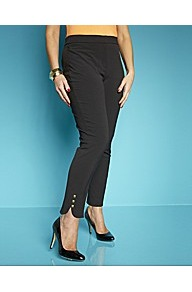 Cropped Embellished Trousers - pattern: plain; waist detail: elasticated waist; waist: high rise; predominant colour: black; occasions: evening, work, occasion; length: ankle length; fibres: polyester/polyamide - mix; hip detail: fitted at hip (bottoms); texture group: crepes; fit: slim leg; pattern type: fabric; pattern size: standard; style: standard; embellishment: studs