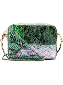 Snake Print Mini Cross Body Bag - predominant colour: dark green; occasions: casual, evening, occasion; type of pattern: standard; style: shoulder; length: across body/long; size: small; material: leather; pattern: animal print; finish: plain; embellishment: chain/metal