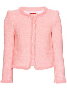 Kidman Tweed Box Jacket - pattern: plain; collar: round collar/collarless; style: boxy; predominant colour: pink; occasions: evening, work, occasion; length: standard; fit: straight cut (boxy); fibres: cotton - stretch; sleeve length: long sleeve; sleeve style: standard; collar break: high; pattern type: fabric; texture group: tweed - light/midweight