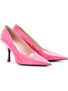 Leather Pumps - predominant colour: hot pink; occasions: evening, work, occasion; material: leather; heel height: high; heel: stiletto; toe: pointed toe; style: courts; finish: patent; pattern: plain