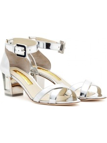 Vestal Metallic Leather Sandals With Clear Heel - predominant colour: silver; occasions: casual, evening, occasion, holiday; material: leather; heel height: mid; embellishment: buckles; ankle detail: ankle strap; heel: block; toe: open toe/peeptoe; style: standard; trends: metallics; finish: metallic; pattern: plain