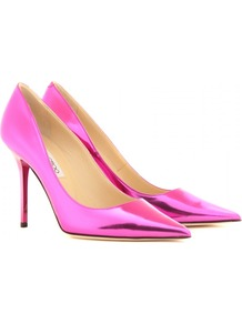Abel Metallic Leather Pumps - predominant colour: hot pink; occasions: evening, occasion; material: leather; heel height: high; heel: stiletto; toe: pointed toe; style: courts; trends: metallics; finish: metallic; pattern: plain