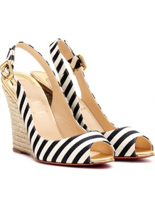 Puglia Sling 100 Espadrille Wedges - predominant colour: black; occasions: casual, evening, work, occasion, holiday; material: fabric; heel height: high; embellishment: buckles; heel: wedge; toe: open toe/peeptoe; style: slingbacks; trends: striking stripes; finish: plain; pattern: horizontal stripes