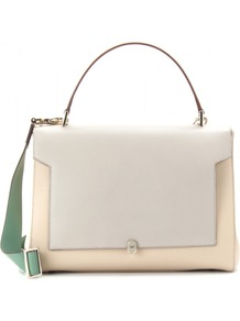 Bathurst Bow Large Leather Shoulder Bag - predominant colour: ivory; occasions: casual, evening, work; type of pattern: light; style: shoulder; length: handle; size: standard; material: leather; pattern: two-tone; finish: plain