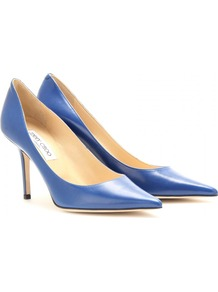 Agnes Leather Pumps - predominant colour: royal blue; occasions: evening, work, occasion; material: leather; heel height: high; heel: stiletto; toe: pointed toe; style: courts; finish: plain; pattern: plain