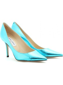 Agnes Metallic Snake Skin Pumps - predominant colour: turquoise; occasions: evening, occasion; material: leather; heel height: high; heel: stiletto; toe: pointed toe; style: courts; trends: fluorescent, metallics; finish: metallic; pattern: animal print