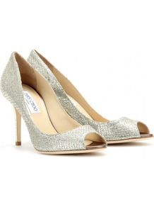 Evelyn Glitter Peep Toe Pumps - predominant colour: silver; occasions: evening, occasion; material: leather; heel height: high; embellishment: glitter; heel: stiletto; toe: open toe/peeptoe; style: courts; trends: metallics; finish: metallic; pattern: animal print